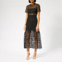 Self-Portrait Women's Floral Lattice Lace Dress - Black - UK 8 - Black