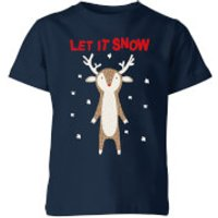 Let It Snow Kids' T-Shirt - Navy - 11-12 Years - Navy - Snow Gifts