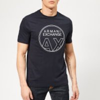 Armani Exchange Men's Circle Logo T-Shirt - Navy - L - Blue