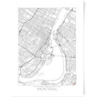 City Art Black and White Outlined Montreal Map Art Print - A4