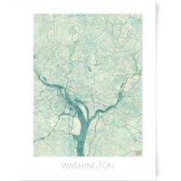 City Art Coloured Washington Map Art Print - A3