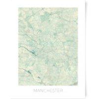 City Art Coloured Manchester Map Art Print - A4