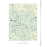 City Art Coloured Glasgow Map Art Print - A4 - No Hanger