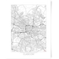 City Art Black and White Outlined Glasgow Map Art Print - A3 - Glasgow Gifts