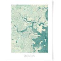City Art Coloured Boston Map Art Print - A3 - No Hanger