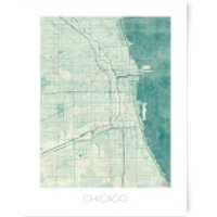 City Art Coloured Chicago Map Art Print - A3
