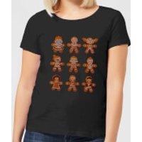 Star Wars Gingerbread Characters Women's Christmas T-Shirt - Black - XL - Black