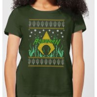 DC Aquaman Knit Women's Christmas T-Shirt - Forest Green - L - Forest Green
