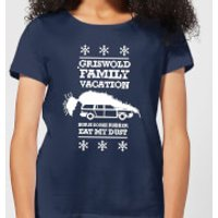 National Lampoon Griswold Vacation Ugly Knit Women's Christmas T-Shirt - Navy - S - Navy