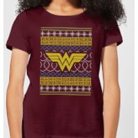 DC Wonder Woman Knit Women's Christmas T-Shirt - Burgundy - S - Burgundy