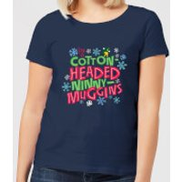 Elf Cotton-Headed Ninny-Muggins Womens Christmas T-Shirt - Navy - XL - Navy