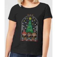 Harry Potter Hogwarts Tree Women's Christmas T-Shirt - Black - L - Black