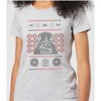 Star Wars Darth Vader Face Knit Women's Christmas T-Shirt - Grey - M - Grey