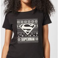 DC Superman Knit Pattern Women's Christmas T-Shirt - Black - L - Black