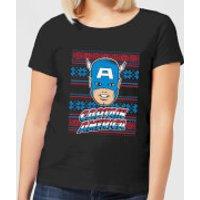 Marvel Captain America Face Women's Christmas T-Shirt - Black - M - Black