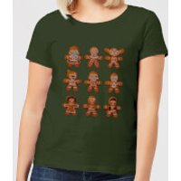 Star Wars Gingerbread Characters Women's Christmas T-Shirt - Forest Green - XL - Forest Green