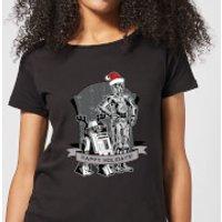 Star Wars Happy Holidays Droids Women's Christmas T-Shirt - Black - XS - Negro