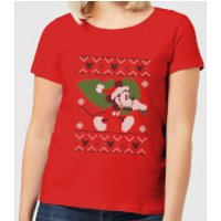 Disney Tree Mickey Women's Christmas T-Shirt - Red - L - Red