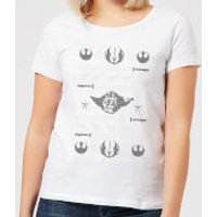 Star Wars Yoda Sabre Knit Women's Christmas T-Shirt - White - XL - White