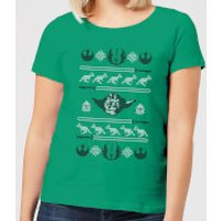 Star Wars Yoda Sabre Knit Women's Christmas T-Shirt - Kelly Green - L - Kelly Green
