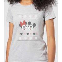 Disney Mickey and Minnie Women's Christmas T-Shirt - Grey - XL - Grey
