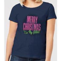 National Lampoon Merry Christmas (Kiss My @$$) Women's Christmas T-Shirt - Navy - XXL - Navy