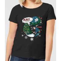 DC Superman Peace On Earth Women's Christmas T-Shirt - Black - M - Black