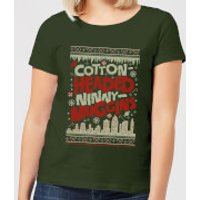 Elf Cotton-Headed-Ninny-Muggins Knit Womens Christmas T-Shirt - Forest Green - XXL - Forest Green