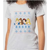 Disney Princess Faces Women's Christmas T-Shirt - Grey - XXL - Grey