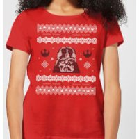 Star Wars Darth Vader Knit Women's Christmas T-Shirt - Red - S - Red