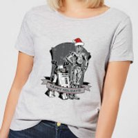 Star Wars Happy Holidays Droids Women's Christmas T-Shirt - Grey - S - Grey