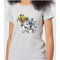 Star Wars Tangled Fairy Lights Droids Women's Christmas T-Shirt - Grey - 4XL - Grey
