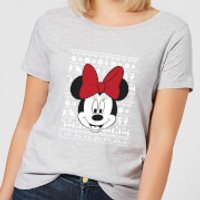 Disney Minnie Face Women's Christmas T-Shirt - Grey - 5XL - Grey