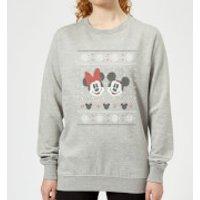 Disney Mickey and Minnie Women's Christmas Sweatshirt - Grey - 5XL - Grey
