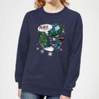 Image of DC Superman Peace On Earth Women's Christmas Sweatshirt - Navy - XXL - Navy