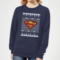 DC Superman Knit Women's Christmas Sweatshirt - Navy - XXL - Navy