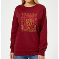 Harry Potter Gryffindor Crest Women's Christmas Sweatshirt - Burgundy - XXL - Burgundy