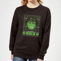 Marvel Hulk Face Women's Christmas Sweatshirt - Black - L - Black