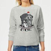 Star Wars Happy Holidays Droids Women's Christmas Sweatshirt - Grey - M - Grey