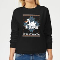 Disney Frozen Olaf and Snowmen Women's Christmas Sweatshirt - Black - XL - Black