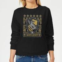 Harry Potter Hufflepuff Crest Women's Christmas Sweatshirt - Black - XS - Black