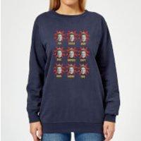 Image of Elf Faces Women's Christmas Sweatshirt - Navy - XL - Navy