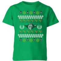 Image of Star Wars Yoda Knit Kids' Christmas T-Shirt - Kelly Green - 9-10 Years - Kelly Green