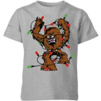 Star Wars Tangled Fairy Lights Chewbacca Kids' Christmas T-Shirt - Grey - 7-8 Years - Grey