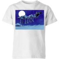 Star Wars AT-AT Darth Vader Sleigh Kids' Christmas T-Shirt - White - 11-12 Years - White
