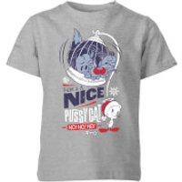 Looney Tunes Tweety Pie Pussy Cat Kids' Christmas T-Shirt - Grey - 7-8 Years - Grey