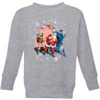 DC Batman Robin Santa Claus Kids' Christmas Sweatshirt - Grey - 7-8 Years - Grey