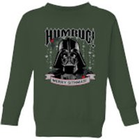 Image of Star Wars Darth Vader Humbug Kids' Christmas Sweatshirt - Forest Green - 3-4 Years - Forest Green
