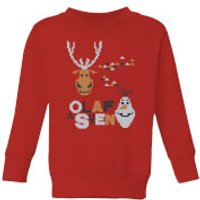 Disney Frozen Olaf and Sven Kids' Christmas Sweatshirt - Red - 3-4 Years - Red