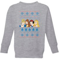 Disney Princess Faces Kids' Christmas Sweatshirt - Grey - 3-4 Years - Grey